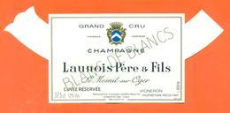 étiquette + Collerette De Champagne Brut Launois Père Et Fils à Le Mesnil Sur Oger - 37,5 Cl - Champagne
