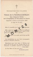 FAIRE PART DECES 18/7/1950 DE VICTORIA DE LA ROCHEFOUCAULT-BAYERS SOEUR MARGUERITE CONGREGATION DE NOTRE DAME DU CENACLE - Décès