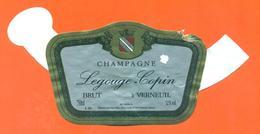 étiquette + Collerette De Champagne Brut Legouge Copin à Verneuil - 75 Cl - Champagne