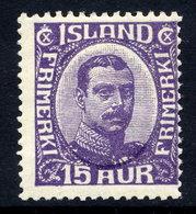 ICELAND 1920 Christian X 15 Aur. Definitive ,  MNH / **.  Michel 90 - 1918-1944 Autonomous Administration