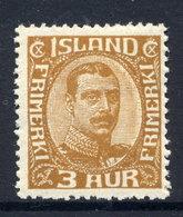 ICELAND 1920 Christian X  3 Aur. Definitive ,  MNH / **.  Michel 84 - 1918-1944 Autonomous Administration