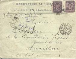 LYON 30 Mai 1894 Lettre Chargée Descriptif Au Recto Valeur 50F Timbre 25c Sage Type 2 N°97 (1  Défaut) - Marcophilie (Lettres)