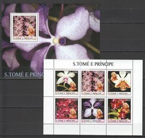 Y011 2003 S.TOME E PRINCIPE NATURE FLORA FLOWERS MARILYN MONROE 1BL+1KB MNH - Orchidées