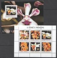 Y013 2003 S.TOME E PRINCIPE NATURE MUSHROOMS FLORA FLOWERS 1BL+1KB MNH - Orchidées