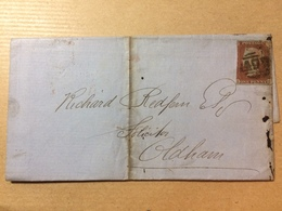 GB Victoria Wrapper 1854 Manchester To Oldham - Tied With 1d Red Imperf - 1840-1901 (Victoria)