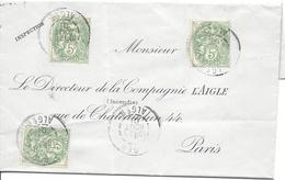ALGER 25 Août 1901 Pour Paris 5c Type Blanc (3 Ex) Tarif 15c - Marcophilie (Lettres)