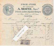 Facture 1901 / A. MOINE / Orfèvre Bijoutier / 10 Rue Mole Près St Jean / 10 Troyes - 1900 – 1949