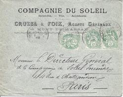 Mont De Marsan 8 11 1902 Pour Paris Tarif 15c Timbre 5c Type Blanc (3 Ex) - Marcophilie (Lettres)