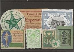 ESPERANTO - LOT DE 8 VIGNETTES 1913-14 - Commemorative Labels