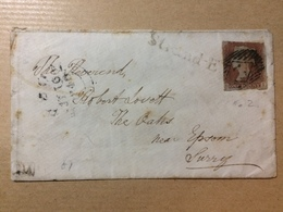 GB Victoria 1846 Cover With Strand E One Line Postmark In Black To Epsom Tied With 1d Red Imperf - 1840-1901 (Victoria)