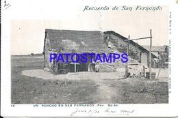 105160 ARGENTINA BUENOS AIRES SAN FERNANDO UN RANCHO DAMAGED CIRCULATED TO BRAZIL POSTAL POSTCARD - Argentina