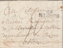Lettre Marque Postale 30 NISMES ( Nimes ) Gard 5 Pluviose An 4 De Barnier à Raymond De Sablayrolles Castres Tarn - Marcophilie (Lettres)