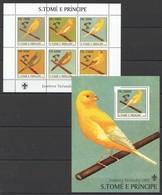 Y024 2003 S.TOME E PRINCIPE FAUNA BIRDS SCOUTISM 1BL+1KB MNH - Vögel