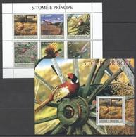 Y029 2003 S.TOME E PRINCIPE FAUNA BIRDS 1BL+1KB MNH - Vögel