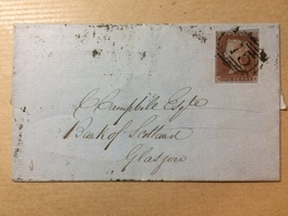 GB Victoria 1844 Wrapper Birmingham To Glasgow - Good 3 Line Boxed Glasgow Mark To Rear Tied With 1d Red Imperf - Storia Postale
