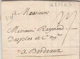 Lettre Marque Postale NIMES Gard 3/10/1774 De Noguier à Desplos Bordeaux - Marcophilie (Lettres)