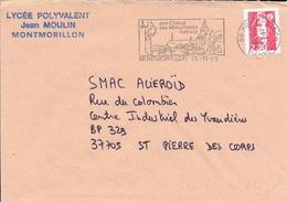 VIENNE 86  -  MONTMORILLON      -  FLAMME SON CLIMAT SES MONUMENTS ROMAINS       -  1990  -  THEME MONUMENTS - Postmark Collection (Covers)
