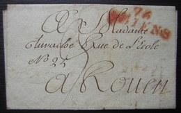 Amiens 9 Ventôse An 9 (28 Février 1801), Marque Rouge 76/ AMIENS Sur Une Lettre Pour Rouen - 1801-1848: Vorläufer XIX