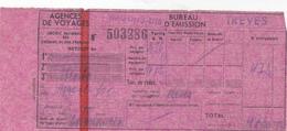 PIE-VPT-18-010 :  TICKET EMIS PAR AGENCE DE VOYAGE. WAGONS-LITS. TREVES. - Chemins De Fer