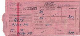 PIE-VPT-18-011 :  TICKET EMIS PAR AGENCE DE VOYAGE. WAGONS-LITS. TREVES.  TRAJET METZ - Chemins De Fer