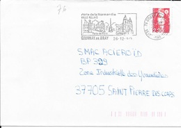 SEINE MARITIME 76  -  GOURNAY EN BRAY      -  FLAMME  VOIR DESCRIPTION      -  1990  -  THEME SITES - Postmark Collection (Covers)