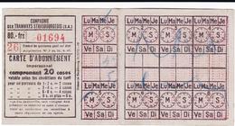 PIE-VPT-18-012 :  TICKET COMPAGNIE DES TRAMWAYS STRASBOURGEOIS. STRASBOURG. CARTE ABONNEMENT - Tramways