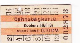PIE-VPT-18-013 :  TICKET BAHNSTEIGKARTE. KOBLENZ. - Chemins De Fer
