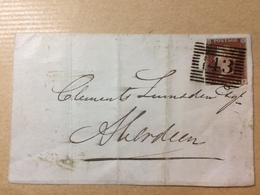 GB Victoria 1845 Wrapper Fochabers To Aberdeen - Very Rare Fochabers Postmark 3 Line Rectangle In Black - 1840-1901 (Victoria)