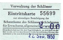 PIE-VPT-18-016 :  TICKET ENTREE. VERWALTUNG DER SCHLÖSSER. EINTRITTSKARTE - Tickets D'entrée