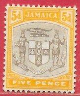 Jamaïque N°40 5p Jaune & Gris 1905 * - Jamaica (...-1961)