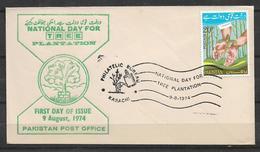 PAKISTAN FDC NATIONAL DAY OF  TREE PLANTATION  1974 - Pakistan
