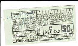 PIE-VPT-18-017 :  TICKET. INNSBRUCKER VERKEHRSBETR. - Railway