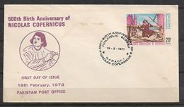 PAKISTAN FDC 1973 500TH BIRTH ANNIVERSARY OF NICOLAS COPERNICUS - Pakistan