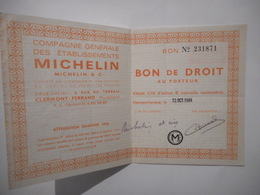 Cie Gle Des ETABLISSEMENTS MICHELIN  Bon De Droits Attribution De 1976 - Autres