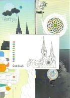 """5 Cartes Postales """"Cart'Com"""" - Regards D'artistes Pour La Cathédrale De Chartres - Eglises Et Cathédrales"""