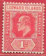 Leeward Island N°35 1p Rouge 1906-11 * - Leeward  Islands