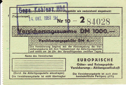 PIE-VPT-18-022 :   TICKET. REISEGEPÄCK VERSICHERUNG - Chemins De Fer