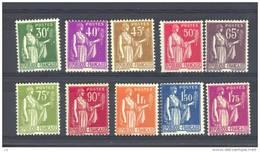 France  :  Yv  280-89  *   Sauf 287 - 1932-39 Paix