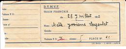 PIE-VPT-18-025 :    TICKET.  D. T .M. V .F . TRAIN FRANCAIS EN ALLEMAGNE. 28 JUILLET 1950. BERLIN RIBURGEN - Chemins De Fer