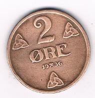 2 ORE  1936 NOORWEGEN /8734/ - Norvège