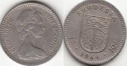 Rhodesia 10 Cents 1964 KM#2- Used - Rhodésie
