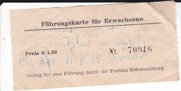 PIE-VPT-18-026 :    TICKET.  FÜHRUNGSKARTE FÜR ERWACHSENE. VISITE DU MUSEE DU CHATEAU DE SALZBOURG. 23 SEPTEMBRE 1950 - Tickets D'entrée