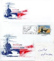 PORTE AVIONS CHARLES DE GAULLE Meilleurs Voeux 2008 Avec Bristolt Obl. CDG 31/12/07 Sur Prêt à Poster (PAP) - Marcophilie (Lettres)