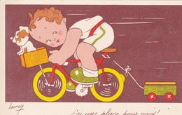 CPSM Bicyclette Enfant Vélo Remorque Cycliste Cyclisme Cycling Radsport Chien Dog Humour Illustrateur LACROIX - Illustrators & Photographers