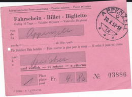 PIE-VPT-18-027 :    TICKET.  VENDU PAR LES POSTES SUISSES. APPENZELL. SCHWEIZERISCHE POSTVERWALTUNG. POSTE SVIZZERE - Chemins De Fer