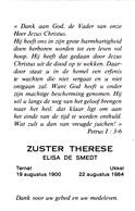 DOODSPRENTJE ZUSTER THERESE ° TERNAT 1900 + UKKEL UCCLE 1984   ELISA DE SMEDT - Images Religieuses