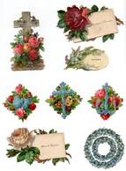 CHROMO Découpis Gaufrée 19ème Message Fleurs Roses Muguet Myosotis Croix Ancre Couronne Coeur Joie Et Santé (8 Chromos) - Enfants