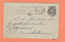 CACHET QUINTIN COTES DU NORD   SUR CARTE POSTALE POUR VANNES MORBIHAN - Marcophilie (Lettres)