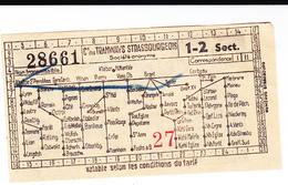 PIE-VPT-18-029 : TICKET. COMPAGNIE DES TRAMWAYS STRASBOURGEOIS. PUBLICITE DES BIERES PERLE  BARSSERIE CH. KLIENKNECHT - Tramways