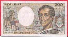 """200 Francs """"Montesquieu"""" 1986 -----XF/SUP+---Série E.043---2 TROU D EPINGLE - 1962-1997 ''Francs''"""